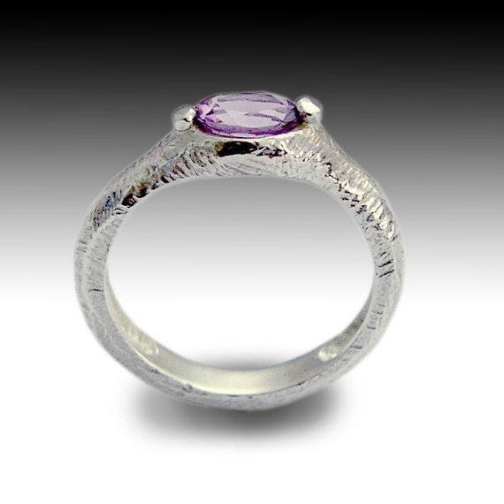 purple gemstone ring engagement ring cut by artisanfeel