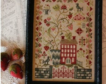 """BLACKBIRD DESIGNS """"Strawberry Fields Forever""""   Cross Stitch Sampler Pattern   2nd in the """"Magical Mystery Tour"""" Series   Beatles, Berries"""