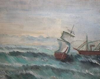 Vintage Impressionist Oil Painting, Seascape Marine Ships