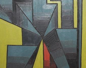 1989 Avant garde cubist constructivist figure Oil Painting, Signed
