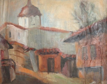 Vintage impressionist cityscape church oil painting