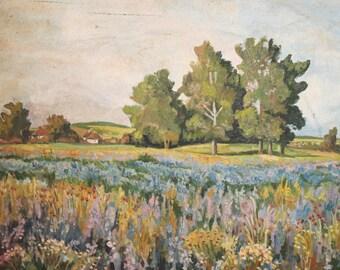 VIntage Oil Painting Impressionist Field Landscape