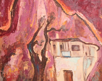 1960's Russian Expressionist Landscape Vintage Oil Painting