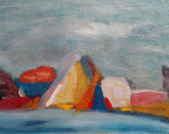 Abstract landscape oil paintingt signed