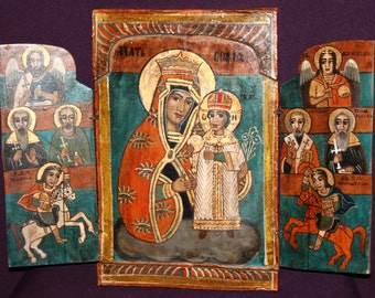 Vitnage Hand painted icon triptych Virgin Mary and Jesus Christ Child