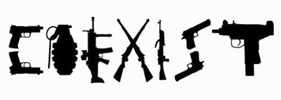 Coexist Guns Rifles Pistols Vinyl Decal Image By