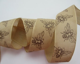 """Natural Bee Ribbon Wired 1 1/2"""" inch wide Brown Ribbon Party Wreath Gift Wrap Gift Basket Center Piece Floral Arrangement Home Decor LR014"""