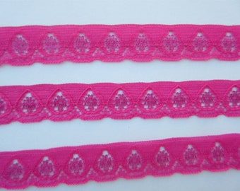 """Pink Lace Trim Ribbon Hot Pink Lace 5/8"""" inch wide Scrapbook Card Decoration Baby Shower Sewing Trim Wedding Bridal Gift Wrap Basket  WL011"""