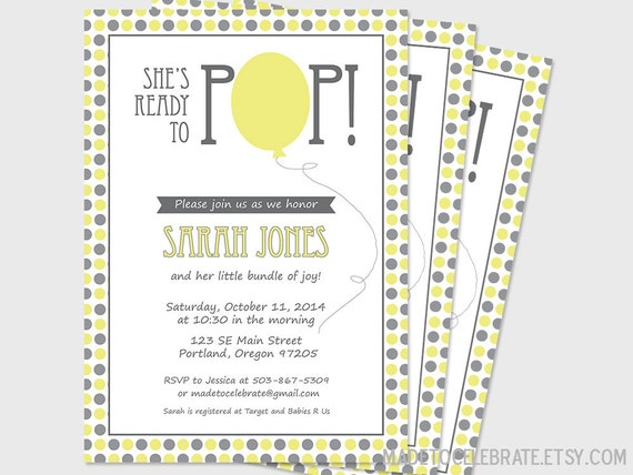 printable ready to pop baby shower invitation customized 5x7