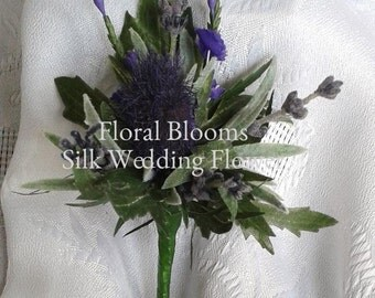 Artificial Purple scottish thistle buttonhole/boutonniere ,Artificial wedding flowers, Groom, Bestman, Groomsmen, Ring bearer