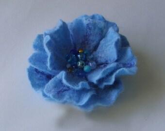 Felted brooch-Felt brooch flower -Flower brooch-Felted flower brooch-felt flower chocolate -summer autumn blue summer