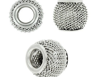 12 mm Beadelle Silver Plated Mesh Beads ( 25 pieces per lot)
