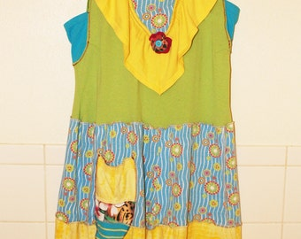 Yellow, green and blue women'supcycled  gypsy pixie dress tunic jumper made from recycled tee shirts with pixie pocket