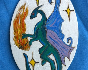 Wooden Magnet-Fairy Dragon(Woodburn+AcrylicPaint)
