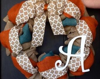 Fall Wreath, Burlap Wreath, Monogrammed Wreath