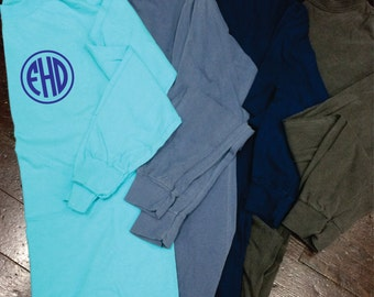 Circle Monogram Comfort Colors Long Sleeve T-Shirt