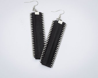Leather Earrings, Black Genuine Leathe earrings With Zippers