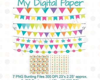 Bunting ClipArt - Pennant Clip Art - Flag Clip Art - Instant Download - Flag Bunting, Star Bunting, Flower Bunting Triangle Pennant Clipart
