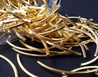 24 Pcs 2x2x50mm Gold Tone Curved Tubes, Square Tubes, Bracelet Connector, Tubes , TBR24