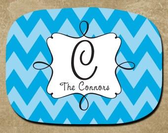 Melamine Platter, Chevron Serving Tray, Personalized Platter, Housewarming Gift, Blue Chevron, Monogram Platter, Wedding Gift
