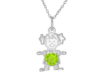 Sterling Silver .925 Happy Baby Girl with Birthstone August / Peridot, Cubic Zirconia Stone. Charm Pendant Necklace | Made in USA