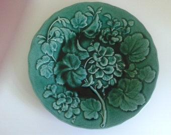 Green Majolica Plate of a Geranium, England late 1880s.