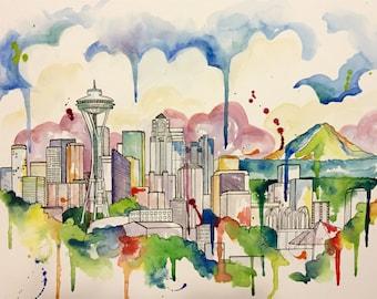 Seattle City Scape- watercolor print- Kristin Douglas Art