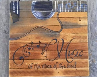 Reclaimed Wood, Music is the voice of the soul, Guitar, Plaster lath, painting