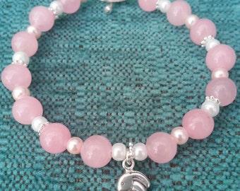 Pink rose quartz sterling silver bunny charm bracelet