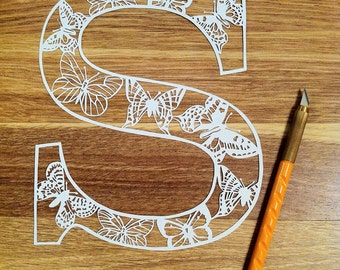 S is for Butterfly Letter Papercutting Template