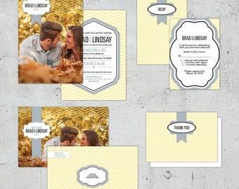 Shabby Chic Chevron Wedding Set | Printable DIY | Color Customizable