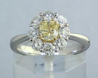 1.39 ct Cushion Cut Fancy Yellow Diamond Engagement Ring in 18K Gold - BAJ-66