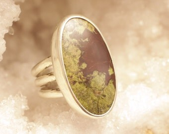 Handcrafted Natural Dragon Blood Jasper and Sterling Silver Ring, Size 8