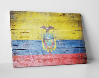 Vintage Ecuador Flag Gallery Wrapped Canvas Print