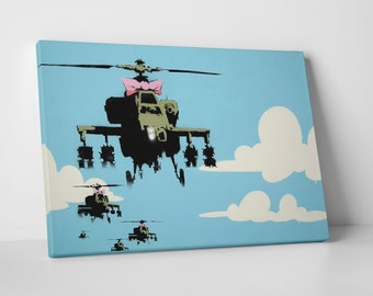 Helicopters With A Bow by Banksy Gallery Wrapped Canvas Print