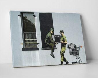 Looting Soldiers by Banksy Gallery Wrapped Canvas Print. BONUS! BANKSY DECAL!