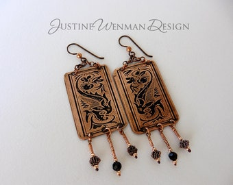 Copper Earrings Etched w/ Dolphin Motif, Pierced, Dangles, Niobium Ear Wires, Sea Creature