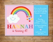 Rainbow Birthday Invitation, Rainbow Invite, Printable Invitation, Somewhere Over the Rainbow, Girls Party Invitation, Rainbow Birthday
