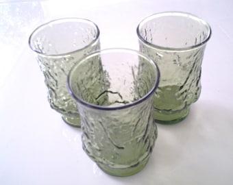 Vintage Retro Avocado Green Anchor Hocking Juice Glasses- Set of Three