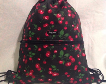 New drawstring cherries backpack