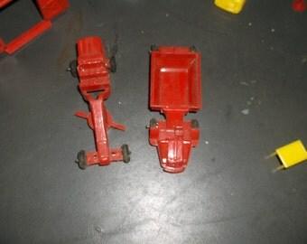 Vintage Plasticville Red Earthmover & Road Grader