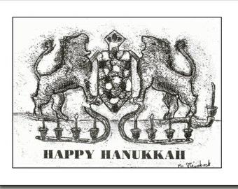 Hanukkah Menorah.  Blank Note Card. Mixed media. Customized message.