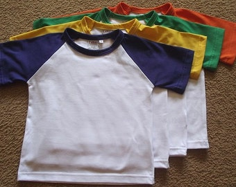 Cute childs raglan sleeve t-shirt- available in loads of colours & sizes
