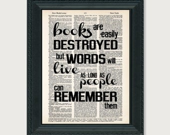 Books Are Easily Destroyed Tahereh Mafi Quote Typography Quote Dictionary Art Print Poster