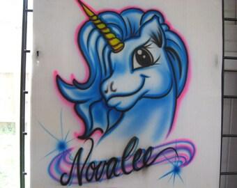 Custom Personalized Airbrush Unicorn T Shirt, freehand, not a stencil