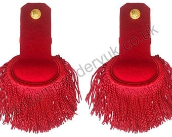 Red Silk Shoulder Epaulettes with Fringe Marching Band Epaulette