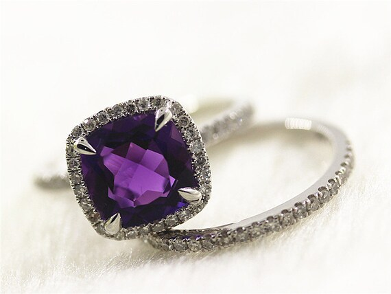 simple amethyst wedding ring set bridal ring set in 14k