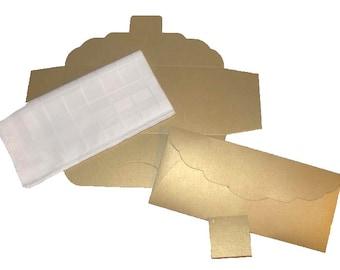Men's Handkerchief Box Package Flat Fold Envelope Shimmering Gold