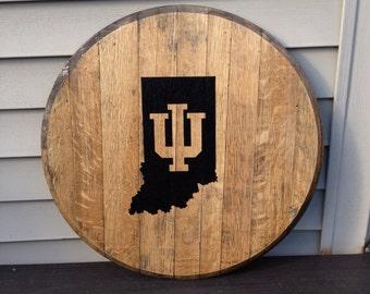 IU Indiana university bourbo barrel head