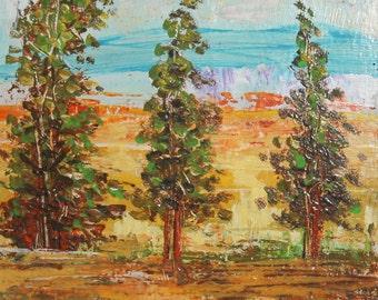Vintage impressionist landscape trees oil painting